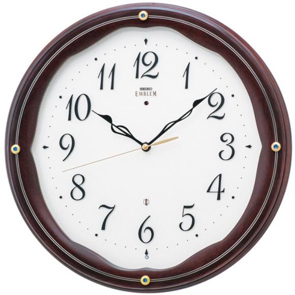 セイコー (SEIKO) EMBLEM 掛け時計 電波時計 おやすみ秒針 スイープ 木枠 HS551B