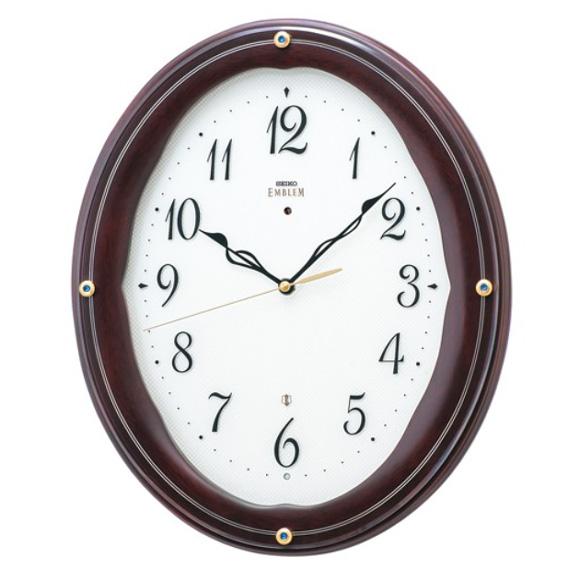 セイコー (SEIKO) EMBLEM 掛け時計 電波時計 おやすみ秒針 スイープ 木枠 HS552B