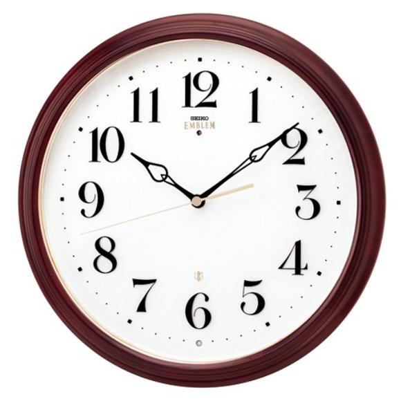 セイコー (SEIKO) EMBLEM 掛け時計 電波時計 おやすみ秒針 スイープ 木枠 HS553B