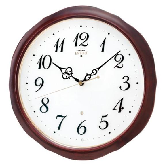 セイコー (SEIKO) EMBLEM 掛け時計 電波時計 おやすみ秒針 スイープ 木枠 HS554B