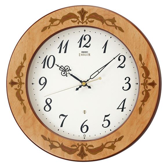 セイコー (SEIKO) EMBLEM 掛け時計 電波時計 木枠 スイープ おやすみ秒針 HS557A