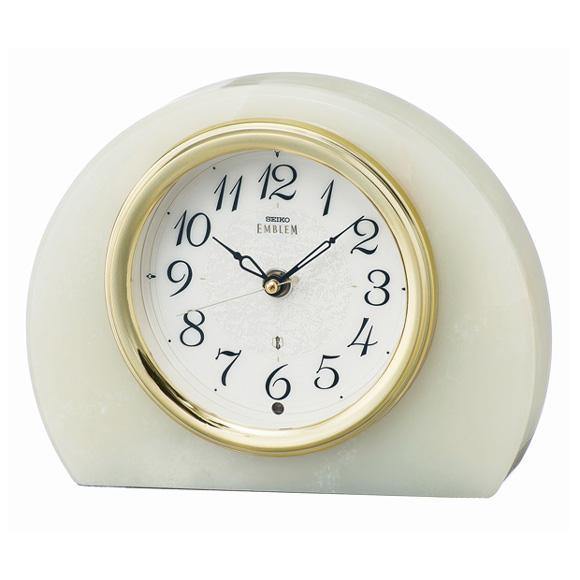セイコー (SEIKO) EMBLEM 置き時計 電波時計 オニキス枠 スイープ HW594M