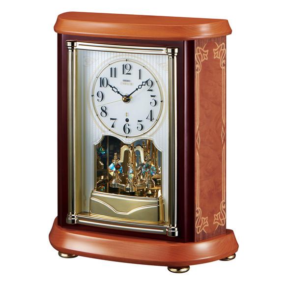 セイコー (SEIKO) EMBLEM からくり時計 電波時計 木枠 回転飾り スイープ HW595B