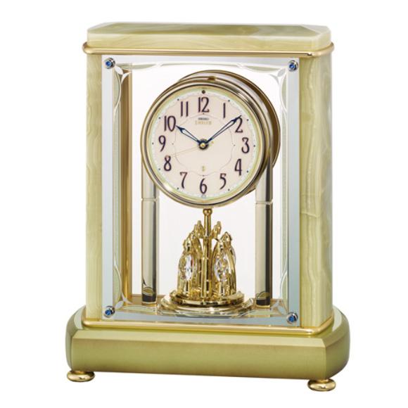 セイコー (SEIKO) EMBLEM からくり時計 電波時計 オニキス枠 メロディ 音量調節 自動鳴止め 回転飾り 報時モニター スイープ HW597M