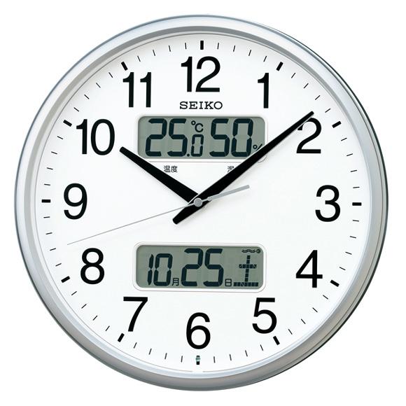 セイコー(SEIKO) 掛け時計 電波時計 スイープ おやすみ秒針 カレンダー機能 温度 湿度 KX235S