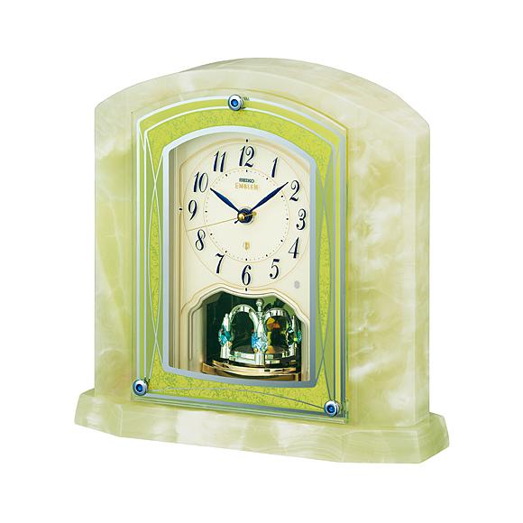 【送料無料】 SEIKO(セイコー) EMBLEM 置き時計 オニキス枠 HW579M