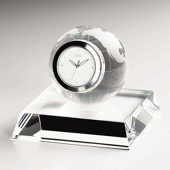 置き時計 置時計 ガラス 鳴海 クリスタル デスク 地球儀 小型 会社 周年 記念品 内祝い 引き出物 贈答品 記念品 ギフト ガラス時計「アース」 (NSGW1000-11010) 【10P01Oct16】