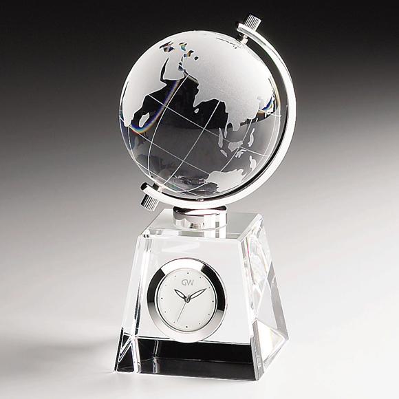 (NSGW1000-11011) 置時計 ガラス時計 時計 置き時計 ガラス時計「グローブ」