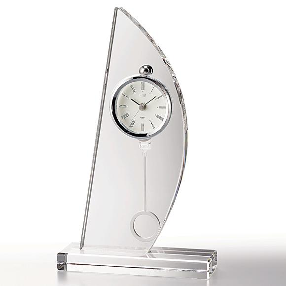 置き時計 置時計 ガラス 振り子 鳴海 クリスタル デスク 高級 会社 周年 記念品退職祝い 就任祝い 応接間 内祝い 引き出物 贈答品 記念品 ギフト ガラス時計「スピンネーカー」 (NSGW1000-11016) 【10P01Oct16】