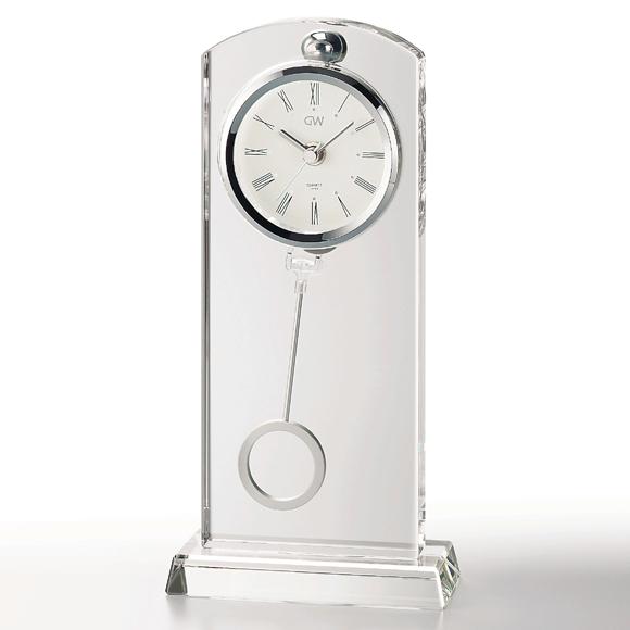置き時計 置時計 ガラス 振り子 鳴海 クリスタル デスク 高級 会社 周年 記念品退職祝い 就任祝い 内祝い 応接間 引き出物 贈答品 記念品 ギフト ガラス時計「セレナ」 (NSGW1000-11017) 【10P01Oct16】