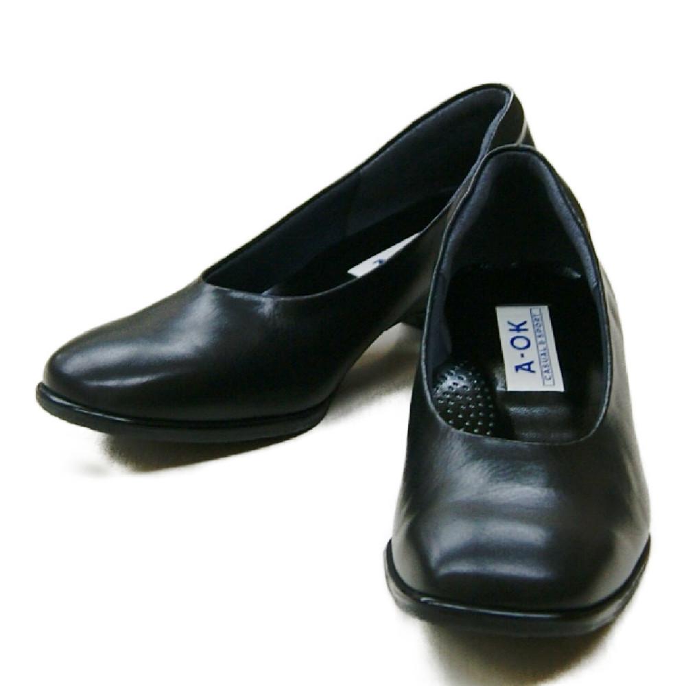 【A-OK】履き良さに自信ありのフォーマルパンプス《OM2412》足裏やわらか/ニューソフトリフト/歩きやすい/痛くない/コンフォート/外反母趾・甲高さんにも快適/履き心地やわらか/3E/日本製/本革/CASUAL&SPORT/