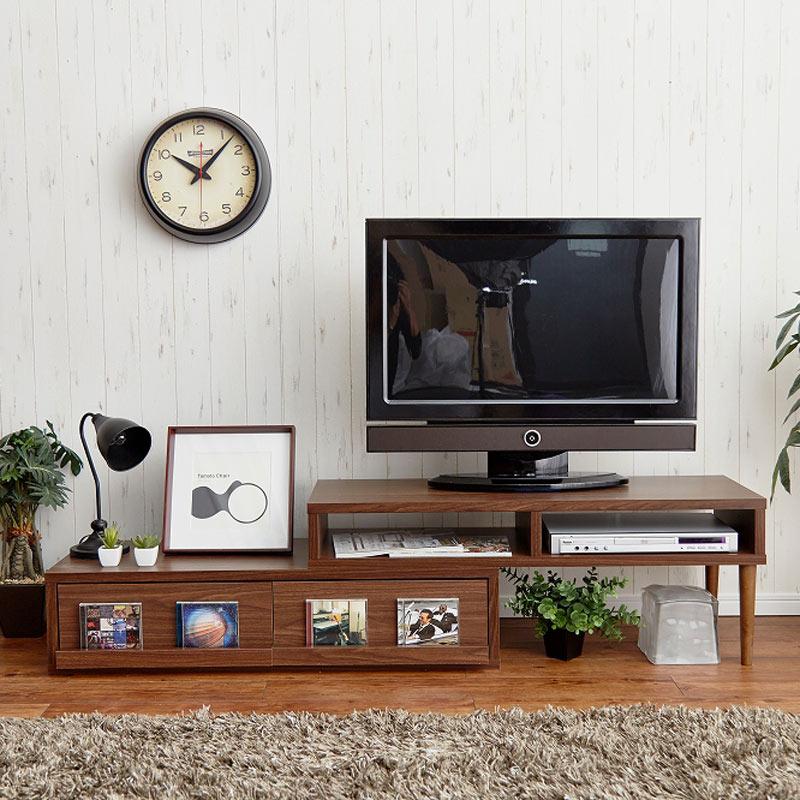 テレビ台 最大2020mmまで伸ばせる伸長式TVボード 幅1110 奥行450 MDF材 モダン リビング
