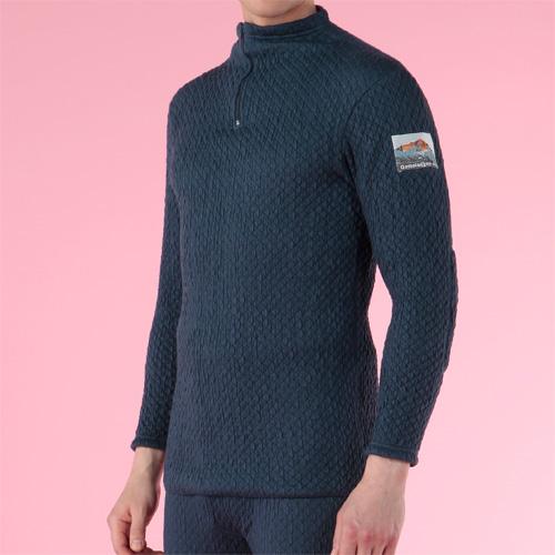 【送料無料】ひだまり本舗 QM901 ネイビー チョモランマ [紳士ハイネックアンダー M] 暖か 肌着 防寒 保湿力