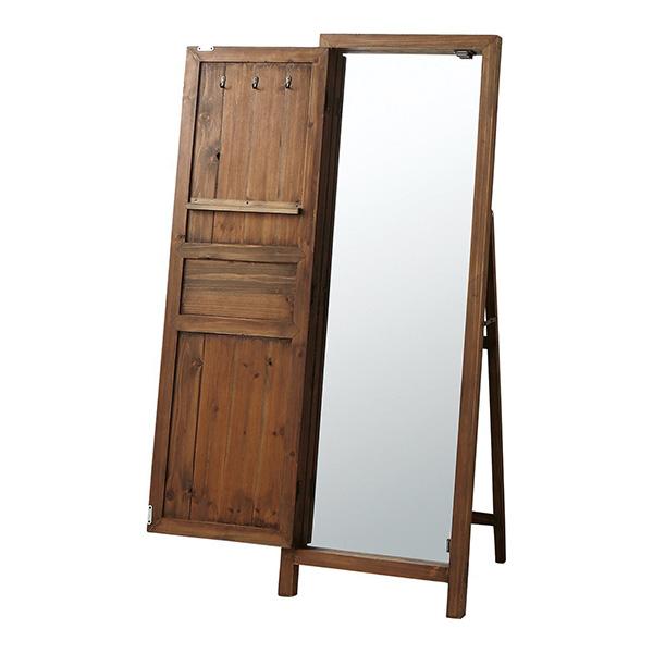 スタンドミラー ドアミラー 鏡 姿見 全身 全身鏡 アンティーク フレンチカントリー 扉付き 収納付き ブラウン TSM-13BR 東谷