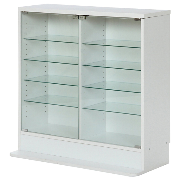 【送料無料】不二貿易 96072 ガラスコレクションケース ロータイプ 浅型 WH ホワイト【同梱配送不可】【代引き不可】【沖縄・北海道・離島配送不可】