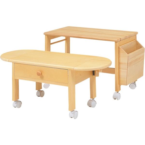 【送料無料】パソコンテーブル サイドテーブル 収納付き コンパクト収納 マガジンラック付き キャスター付き ナチュラル