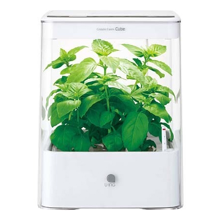 【送料無料】水耕栽培器 ユーイング UH-CB01G1(W) ホワイト GreenFarm CUBE(グリーンファーム キューブ) 自然 彩り 野菜 植物 栽培 収穫 コンパクト おしゃれ インテリア タイマー