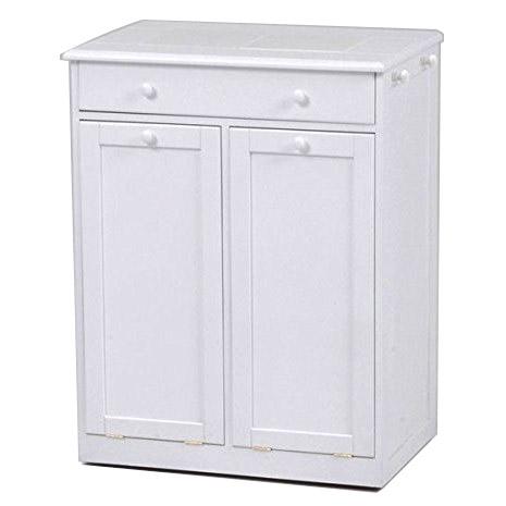 【送料無料】ダストボックス ゴミ箱 カントリー調 25L×2個 フタ付きペール 引き出し付 キャスター付き ホワイト