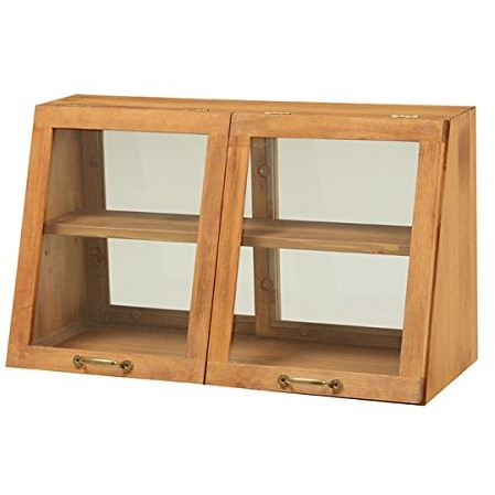 【送料無料】カウンター 収納 ガラスケース ディスプレイ棚 2段 アンティーク調 カフェ風 フラップ扉 ナチュラル