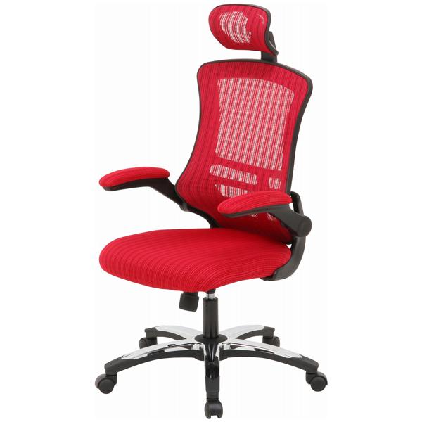 【送料無料】オフィスチェア パソコンチェア 可動式肘付き ロッキングチェア ヘッドレスト付き ワインレッド アームアップチェアー マスター