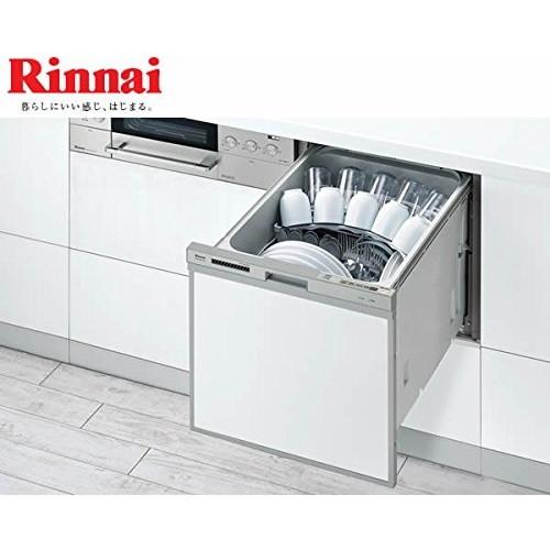 【送料無料】Rinnai RKW-404A-SV シルバー [ビルトイン食器洗い乾燥機(スライドオープンタイプ 5人用)] リンナイ ビルトイン食洗機 スリムラインフェイス コンパクト 幅45cm サークルラック 食洗機 食器洗い機 おすすめ 5人用(37点)