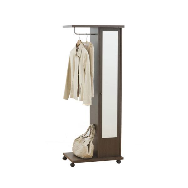 【送料無料】ブティックハンガー ハンガーラック ポールハンガー 収納 鏡付き ダークブラウン