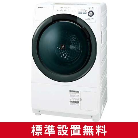 【送料無料】シャープ 洗濯機 ドラム式 ES-S7B-WL ホワイト系 左開き ななめ型 洗濯乾燥機 洗濯7kg 乾燥3.5kg コンパクト 省エネ 節水 静か プラズマクラスター マンション SHARP