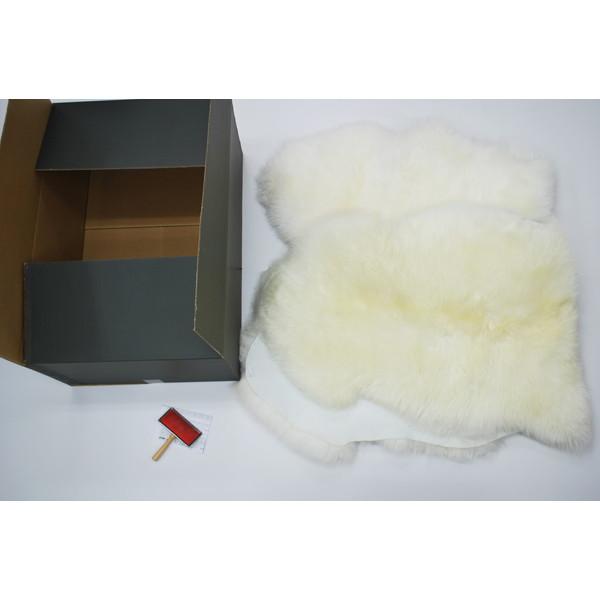 BMS LA-04WH ホワイト [ラグジュアリームートン クッション タイプ2 (長毛/サイズ60×168cm2枚)]