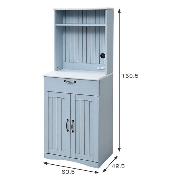 【送料無料】JKプラン FFC-0006-BL ブルー&ホワイト フレンチカントリー家具 [カップボード (幅60cm/フレンチスタイル)]【同梱配送不可】【代引き不可】【沖縄・北海道・離島配送不可】
