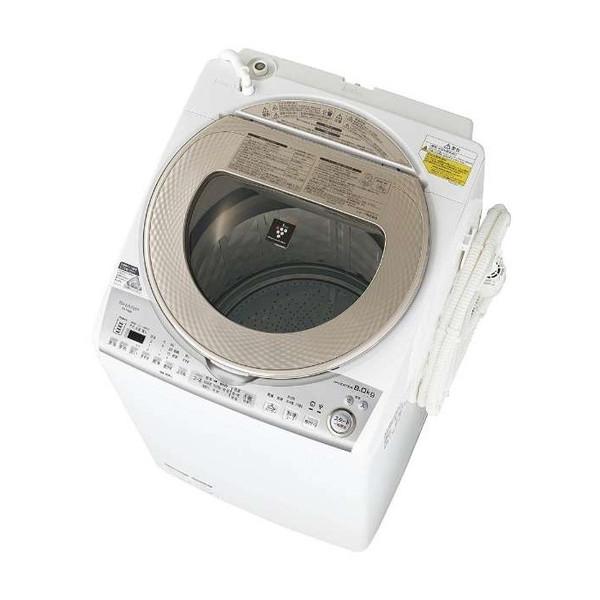 【送料無料】シャープ 洗濯機 縦型 ES-TX8B-N ゴールド系 全自動 穴なし槽 洗濯8kg 乾燥4.5kg 節水 省エネ プラズマクラスター 内ふたなし ハンガー乾燥 SHARP 糸くずフィルター しっかりとれる