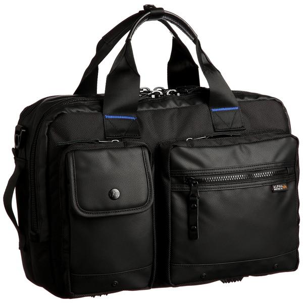 【送料無料】ALPHA INDUSTRIES 04723 3WAY ビジネスバッグ メンズ ショルダー付 出張 通勤 ブラック