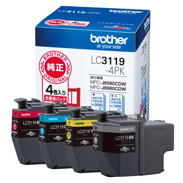 【送料無料】Brother LC3119-4PK [純正インクカートリッジ 大容量タイプ お徳用4色パック]【同梱配送不可】【代引き不可】【沖縄・離島配送不可】