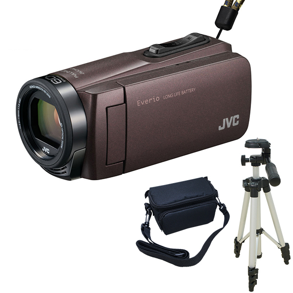 ビデオカメラ JVC ( ビクター / VICTOR ) 32GB GZ-F270-T + KA-1100 三脚 & バッグ付き おすすめセット 大容量バッテリー ブラウン 長時間録画 Everio 旅行 成人式 卒園 入園 卒業式 入学式に必要なもの 結婚式 出産 アウトドア 学芸会 小型 コンパクト 小さい ケース