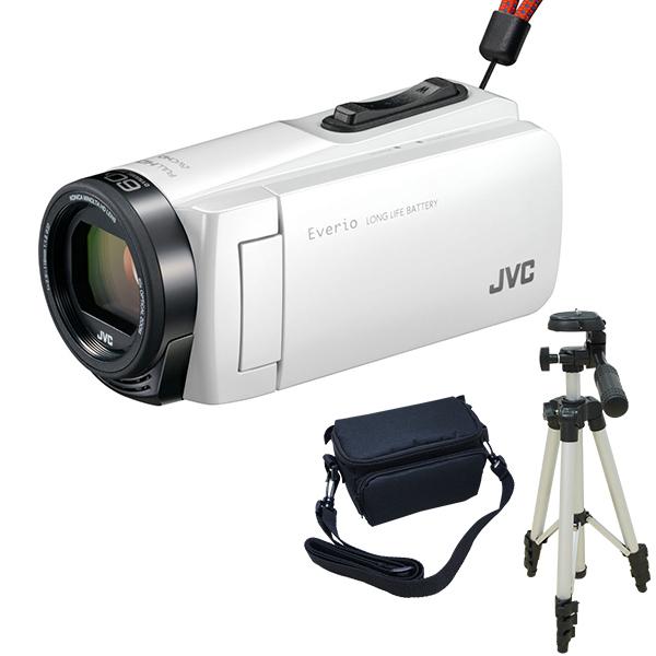 ビデオカメラ JVC ( ビクター / VICTOR ) 32GB 大容量バッテリー GZ-F270-W + KA-1100 三脚 & バッグ付き おすすめセット ホワイト 長時間録画 Everio(エブリオ) 旅行 成人式 卒園 入園 卒業式 入学式に必要なもの 結婚式 出産 アウトドア 学芸会 小型 ケース