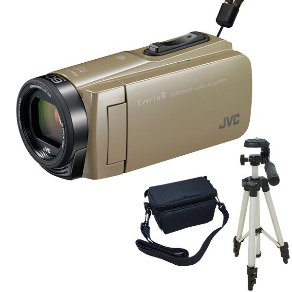 【送料無料】JVC (ビクター) ビデオカメラ 64GB 大容量バッテリー GZ-RX670-C + KA-1100 三脚&バッグ付きセット 防水 防滴 防塵 耐衝撃 耐低温 旅行 成人式 卒園 入園 卒業式 入学式に必要なもの 結婚式 出産 アウトドア 学芸会 小型 小さい