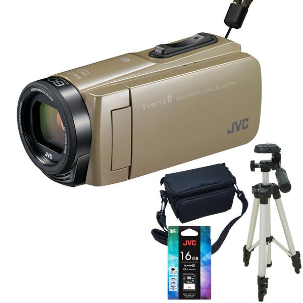 【送料無料】JVC(ビクター)ビデオカメラ 64GB 大容量バッテリー GZ-RX670-C サンドベージュ 三脚&バッグ&メモリーカード(16GB)付きセット 長時間録画 旅行 成人式 卒園 入園 卒業式 入学式に必要なもの 結婚式 出産 アウトドア 学芸会 小型 小さい