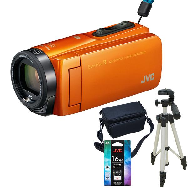 【送料無料】JVC(ビクター) ビデオカメラ 64GB 大容量バッテリー GZ-RX670-D サンライズオレンジ Everio R 三脚&バッグ&メモリーカード(16GB)付きセット 長時間録画 旅行 成人式 卒園 入園 卒業式 入学式に必要なもの 結婚式 出産 アウトドア 学芸会 小型 小さい