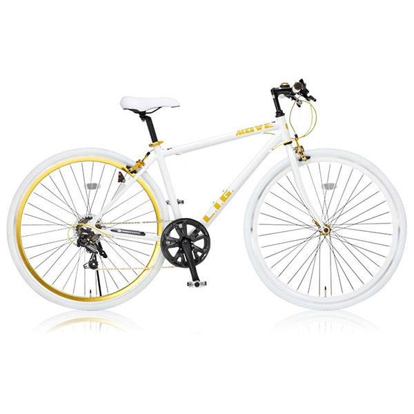 【送料無料】LIG LIG MOVE ホワイト [クロスバイク(700×28C・7段変速)]【同梱配送不可】【代引き・後払い決済不可】【沖縄・北海道・離島配送不可】自転車 通勤 通学 学生 アルミフレーム クイックリリース スポーツバイク シマノ ギア