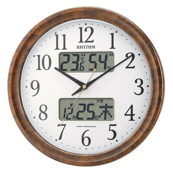 【送料無料】リズム時計工業 4FY617SR23 RHYTHM ピュアカレンダー電波掛時計