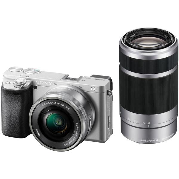 SONY ILCE-6400Y-S ダブルズームレンズキット シルバー α6400 [デジタル一眼カメラ (2420万画素)+(E PZ 16-50mm F3.5-5.6 OSS+E 55-210mm F4.5-6.3 OSS)]