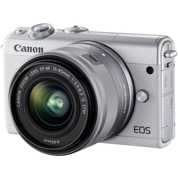 【送料無料】CANON EOS M100 W 15-45 IS ホワイト [ミラーレス一眼カメラ (2420万画素)]