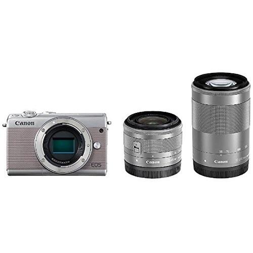 【送料無料】CANON EOS M100 G 15-45/55-200 ダブルズームキット グレー [ミラーレス一眼カメラ (2420万画素)]