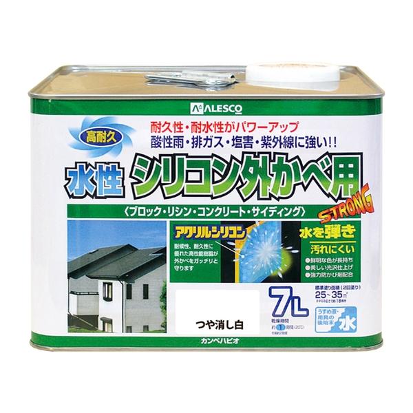 カンペハピオ 水性シリコン外かべ用 つや消し白 7L