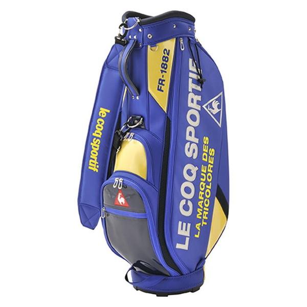 ポリエステル素材をベースとして、部分的にエナメル素材を使用した軽量キャディバッグ。 le coq sportif 2020年モデル ルコックゴルフ キャディバッグ QQBPJJ08 ブルー 【日本正規品】