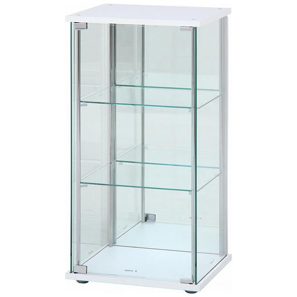 【送料無料】不二貿易 97335 ガラスコレクションケース 3段(背面ミラー付き) WH【同梱配送不可】【代引き不可】【沖縄・北海道・離島配送不可】