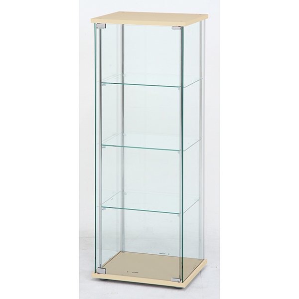 【送料無料】不二貿易 97340 ガラスコレクションケース 4段 ロータイプ NA【同梱配送不可】【代引き不可】【沖縄・北海道・離島配送不可】