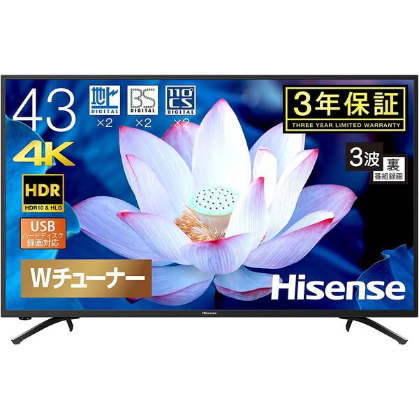 ハイセンス Hisense 43型 地上・BS・110度CS 4K対応液晶 43F68E HDR対応 直下型バックライト VAパネル 3波Wチューナー 外付けHDD 録画機能 リビング 寝室 セカンド HDMI