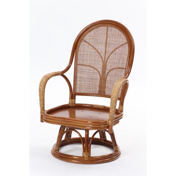 C7521HR ブラウン [ラタン ハイバック回転座椅子]【同梱配送不可】【代引き・後払い決済不可】【沖縄・北海道・離島配送不可】