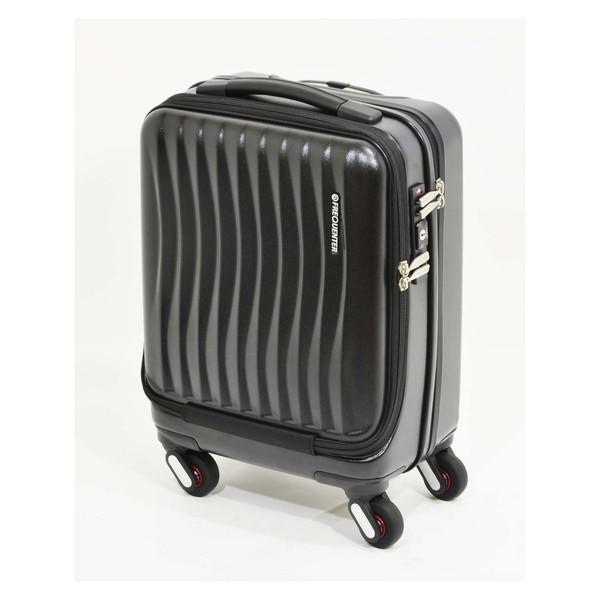 【送料無料】エンドー鞄 1-217-BK FREQUENTER Clam_A ストッパー付フロントオープンキャリー41cm クロ [スーツケース(23L)]