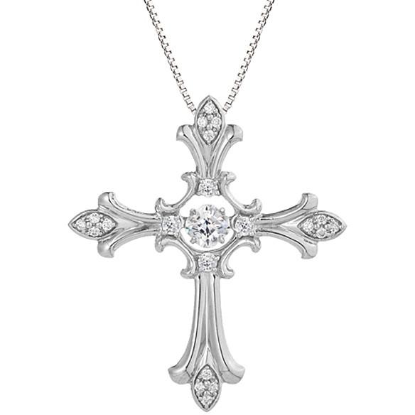 【送料無料】Crossfor New York クロスフォーニューヨーク NYP-608 Dancing Stone Eternal cross [シルバーネックレス]